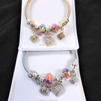 Classy Gold & Silver Spring Style Bracelet w/ Colorful Beads & Heart Charms  .56  each