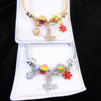Classy Gold & Silver Spring Style Bracelet w/ Colorful Beads & Butterfly Charms  .56  each