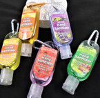 "4"" Fruit Scented  Pocket Size Hand Sanitizer w/ Clip  12 per pk  .65  each"