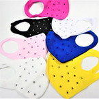 Fashion Face Mask Reusable w/ Acrylic Stones Mixed Colors 12 per pk   $ 1.50 each