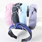 "1.5"" Striped Linen Fabric  Fashion Headbands w/ Knot & Pearls   .56 each"