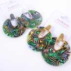 "1.5"" Round Gold & Silver  Top Abalone Shell Look Earring .60 per pair"