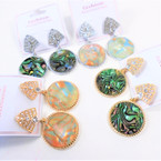"""1.5"""" Gold & Silver  w/ Cry. Stone Abalone Shell Look Earring .65  per pair"""