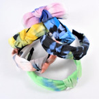 "1.5"" Tye Dye Fabric Fashion Headbands w/ Knot (118)  .56 each"