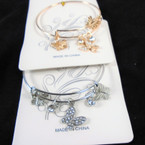 Gold & Silver Wire Bangle Bracelet w/ Butterfly Charms (157) .54  ea