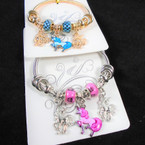 Gold & Silver Spring Style Bracelet w/ Colorful Unicorn Charms    .56 each