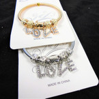 Gold & Silver Spring Style Bracelet w/ Cry. Stone LOVE Charms    .56  ea