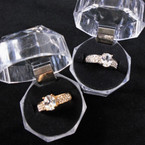 Gold & Silver Cubic Fashion Rings in Clear Box (683) .58 each