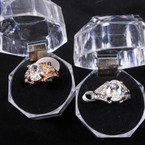 Gold & Silver Oval Cubic Fashion Rings in Clear Box (693) .58 each