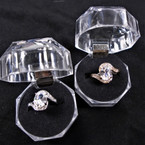 Gold & Silver Oval Cubic Fashion Rings in Clear Box (686) .58 each