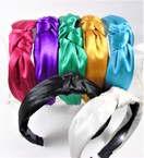 "1.5"" Shiney Satin Soft Fabric Fashion Headbands w/ Knot (819)  .56 each"