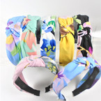 "1.5"" Flower Print  Soft Fabric Fashion Headbands w/ Knot (815)  .56 each"