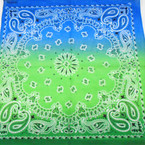 "21"" Square  Bandana/Mask  Tye Dye Gradiant Blue/Green  .60 each"