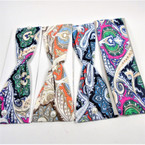 "3"" Mixed Color Paisley Pattern  Print Stretch Headbands   12 per pk   .58 each"