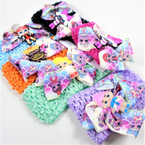 "2.5"" Stretch Crochet Headbands w/ 3"" Cutie Girl Bow .56 each"