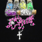 "30"" Glass Bead Rosary in Glass Bottle Assorted Colors  .58 ea"