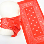 Multifunction Face Mask Red  Color Bandana Print  (74533RD) 10 per pk .75 each