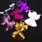 "3.5"" Change Color Sequin ANGEL Keychains 12 per pk .56 each"