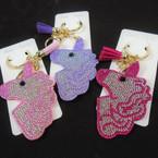 """3""""  Unicorn Crystal Stone Keychains w/ Tassel & Clip  12 per pk .65 each"""