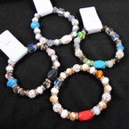 Cry. Glass Bead & Stone Stretch Bracelet w/ Mini Cry, Stones .58 each