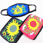 2 Layer Sunflower  Print Protective Face Mask 3 colors  (CAB)  12 per pk $ .83 each