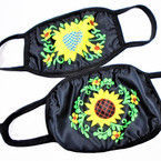 2 Layer Black w/ Sunflower  Print Protective Face Mask  (CAC)  12 per pk .75 each