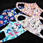 Kids Mixed Print Face Masks w/ Panda Vent Washable & Reusable 12  per pk  $1.30 each