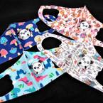 Kids Mixed Print Face Masks w/ Panda Vent Washable & Reusable 12  per pk  $1.30 each