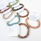 Mixed Color Cry. Glass Bead Stretch Bracelet w/ Mini Cry, Stones .58 each