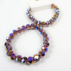 8MM Shiney Metallic Purple Crystal Beaded Stretch Bracelets .60 each