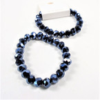 8MM Shiney Metallic Hematie Color Crystal Beaded Stretch Bracelets .60 each