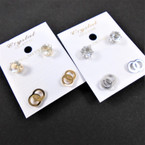 Stainless Steel Earring Set Cry. Studs & DBL Circles Gold/Sil .54 per set