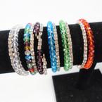 2 Line Rhinestone & Crystal Bead Coil Bracelets  Asst Colors .58 each set