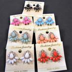 "1"" Classy Petite Colored Stone & Clear Rhinestone CLIP ON Earrings"