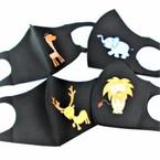 KIDS Face Masks Washable & Reusable w/ Black 4- Animal Print  .85  each