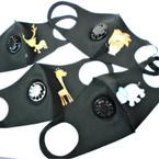 KIDS Face Masks Washable & Reusable w/ Black 4- Animal Print & Vent  1.25 each