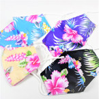 Adjustable 2 Layer w/ Filter Pocket  Protective Face Mask Hawaiian Flower   $ 1.50 each
