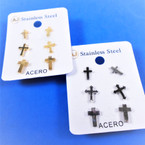 3 Pair Gold & Silver Stainless Steel Earrings Cross Theme   .56 per set