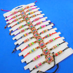 Cord Beaded Bracelets w/ Colorful Seed Beaded Turtle 12 per card .54 each