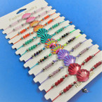 Cord Beaded Bracelets w/ Colorful Seashell  12 per card .54 each