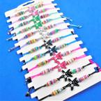 Cord Beaded Bracelets w/ Colorful Starfish w/ Eyes 12 per card .54 each