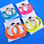 "1.75"" Acrylic Fashion Hoop Earrings Neon Colors .54 per pair"