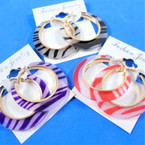"1.75"" Acrylic Fashion Hoop Earrings Fashion Zebra Print  .54 per pair"
