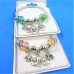 All Silver Spring Style Bracelet w/ Color Beads & Elephant  Charms    .58 each