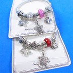 All Silver Spring Style Bracelet w/ Color Beads & Mixed Charms   .58 each
