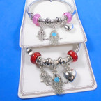 All Silver Spring Style Bracelet w/ Color Beads & Hamsa Charms   .58 each