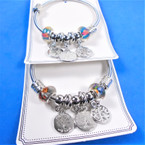 All Silver Spring Style Bracelet w/ Color Beads & Tree of Life Charms   .58 each