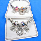 All Silver Spring Style Bracelet w/ Color Beads & Mixed Heart Charms   .58 each