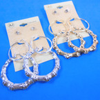 Earring Set 3 Pair Gold & Silver Hoop,Bamboo &  Crystal Studs .54 per set