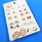 Value Pack 12 Pair Gold Stud  Earrings Mixed on Card (87) .54 per set